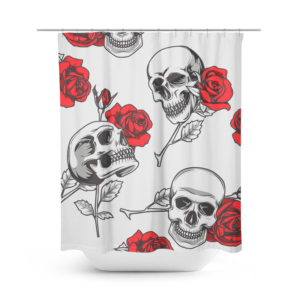 Skullistic Death Rose Shower Curtain