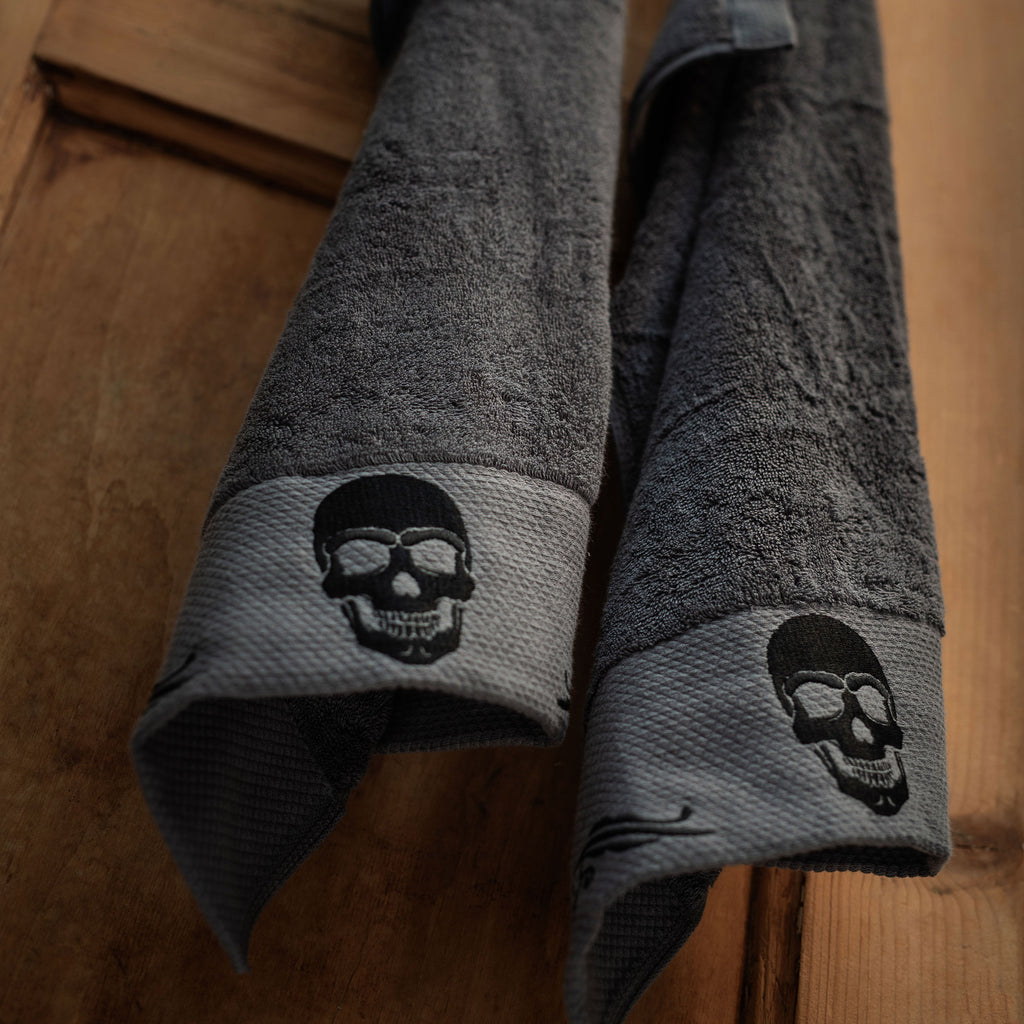 Gothic Skull Embroidery Hand Towel Set