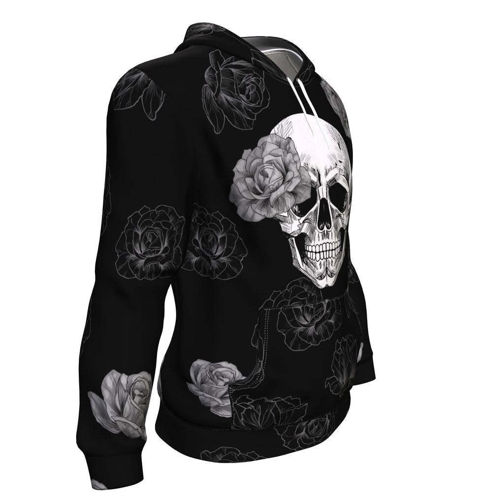 Grey Flower Skull All Over Print Unisex Hoodie