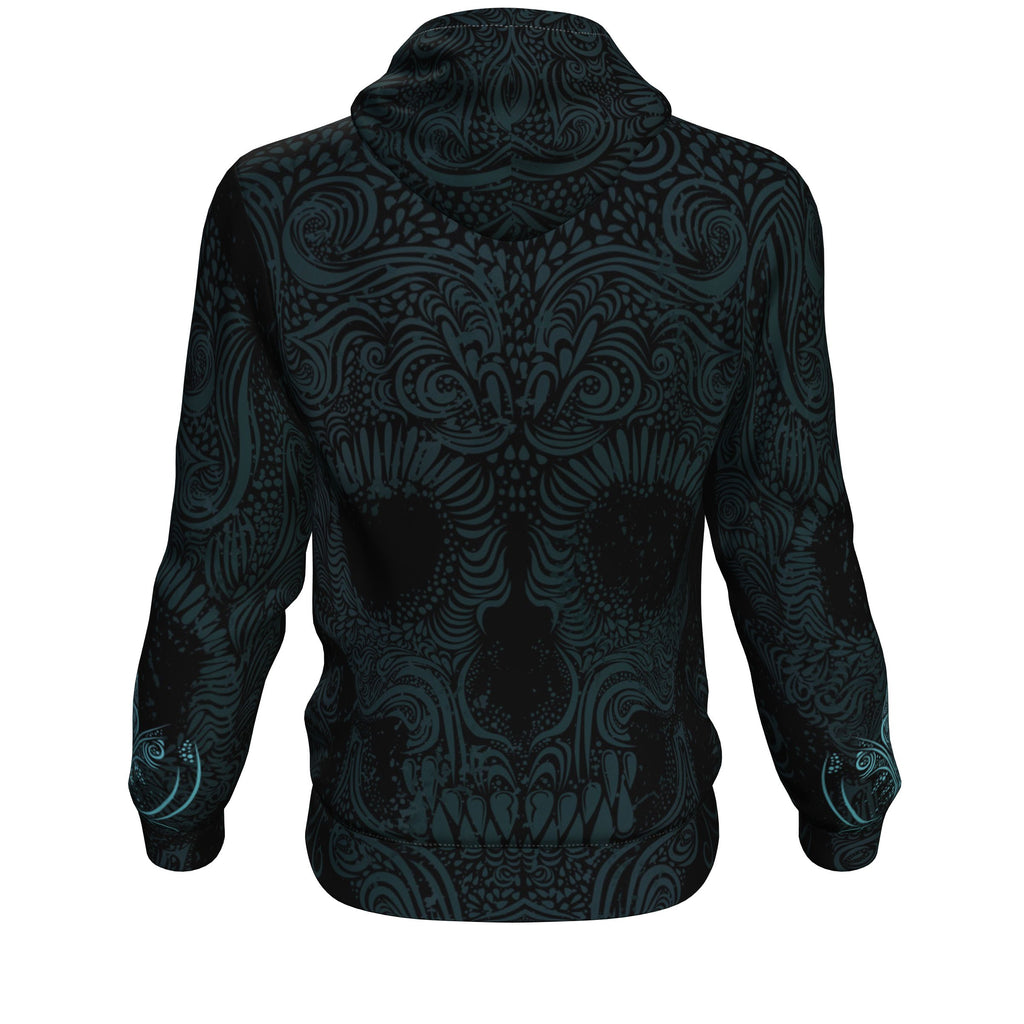 Sugar Skull Blue All Over Print Unisex Hoodie