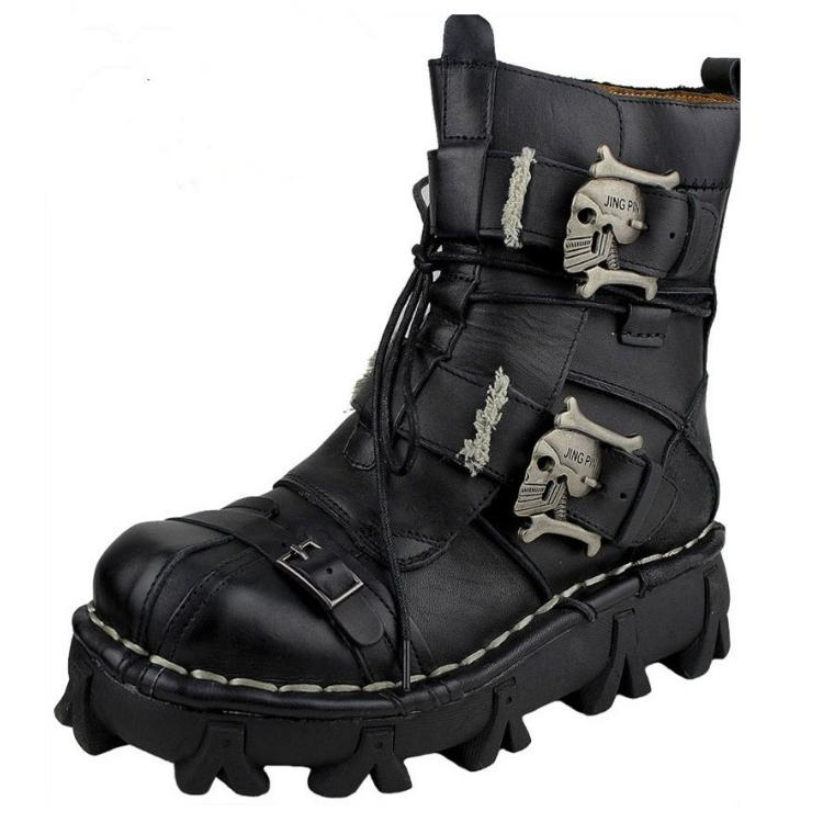 Rebel Leather Skull Boots