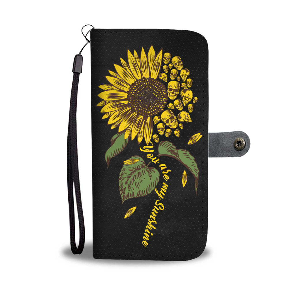 Sunflower Skulls Wallet Phone Case