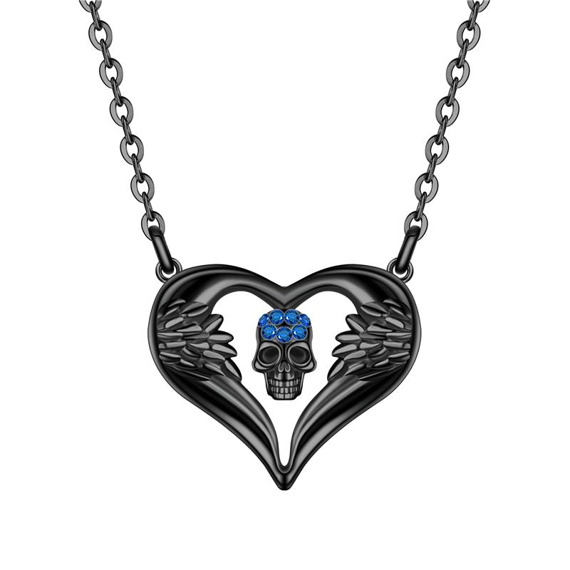 The Tender Angel Wings Heart Skull Necklace