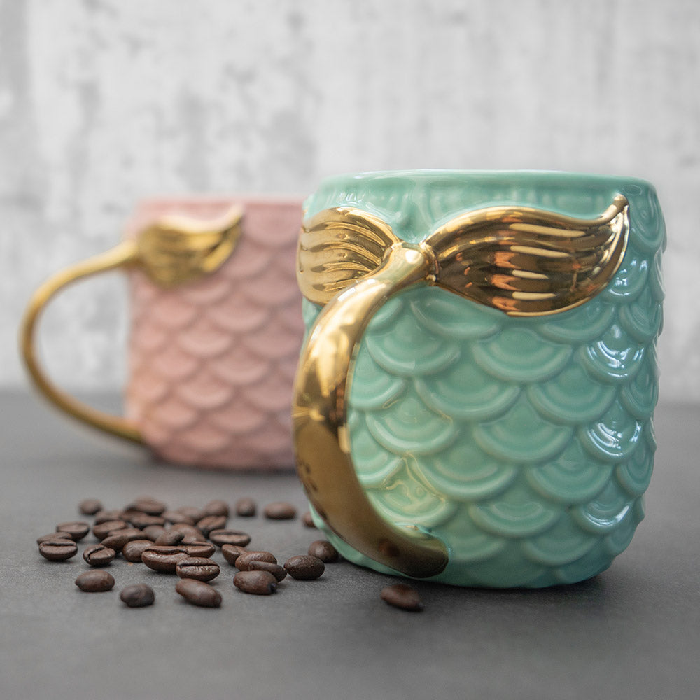 Seas The Day Mermaid Gold Tail Mug