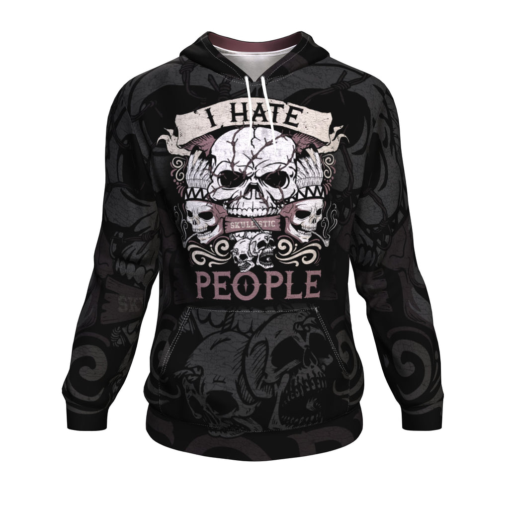 I Hate People Skull All Over Print Unisex Hoodie