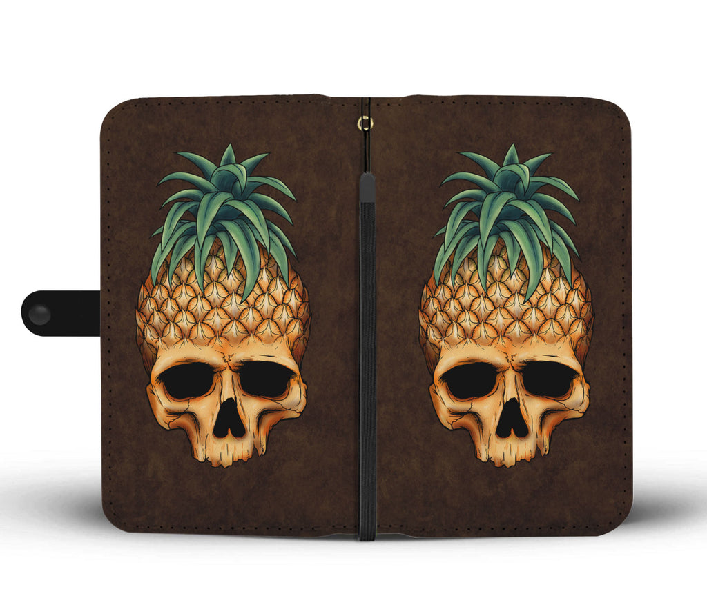 Skullistic Pineapple Skull Brown Wallet Phone Case