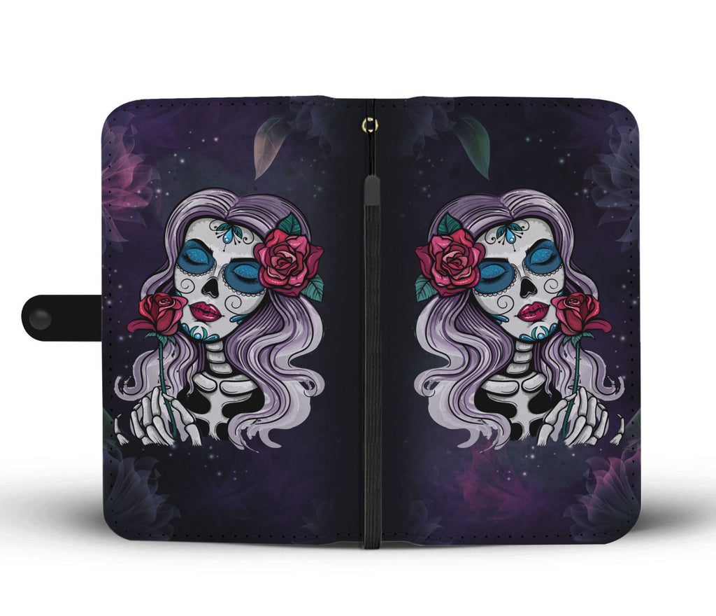Day Of The Dead Skull Wallet Phone Case