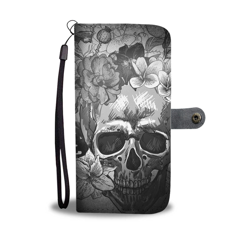 Grey Flowers Skull Phone Wallet Case