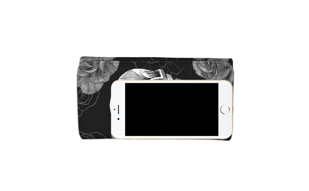 Grey Flower Skull Women's Wallet