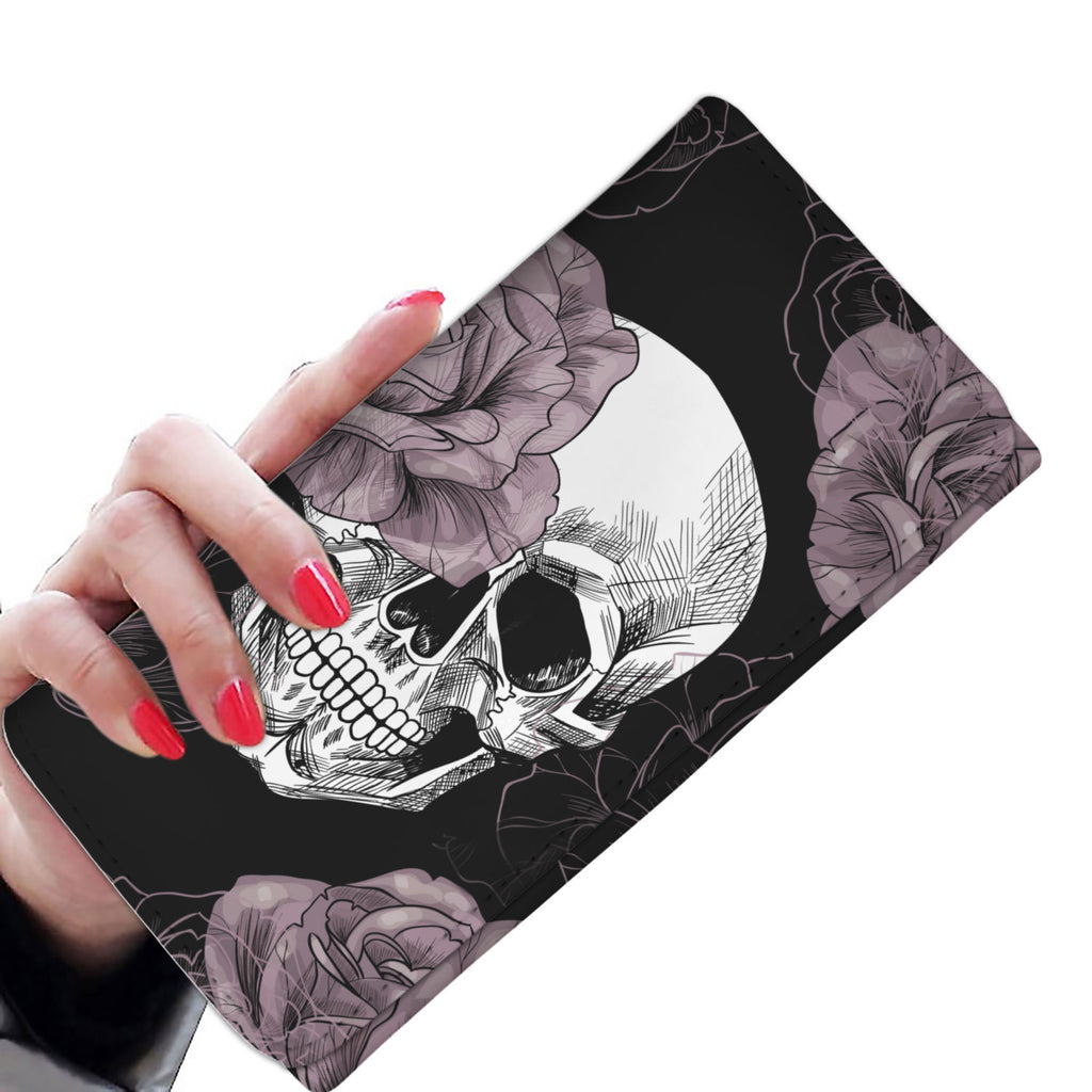Light Pink Flower Skull Women's Wallet