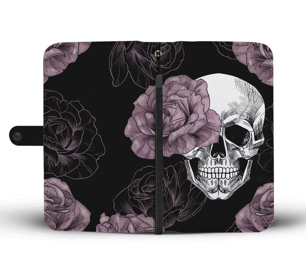 Light Pink Flower Skull Phone Wallet Case