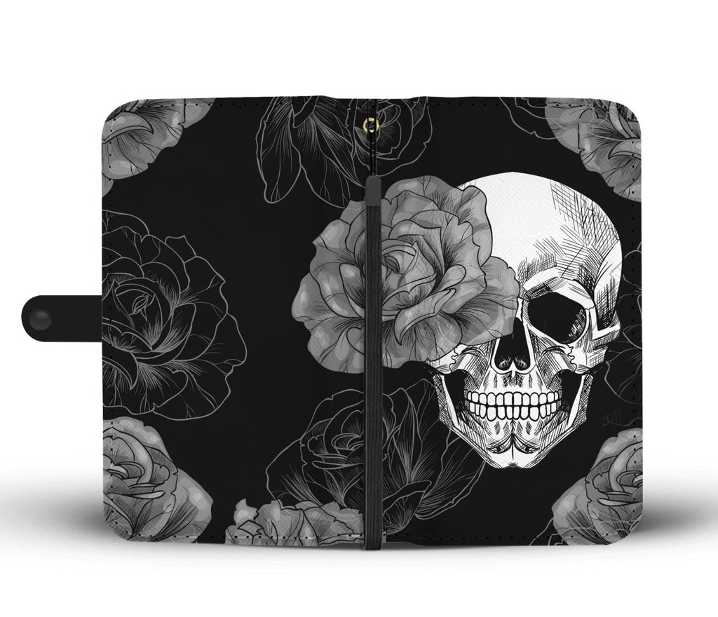 Grey Flower Skull Phone Wallet Case