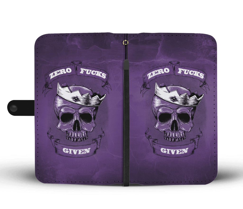 Zero F*ck Given Dark Purple Phone Wallet Case