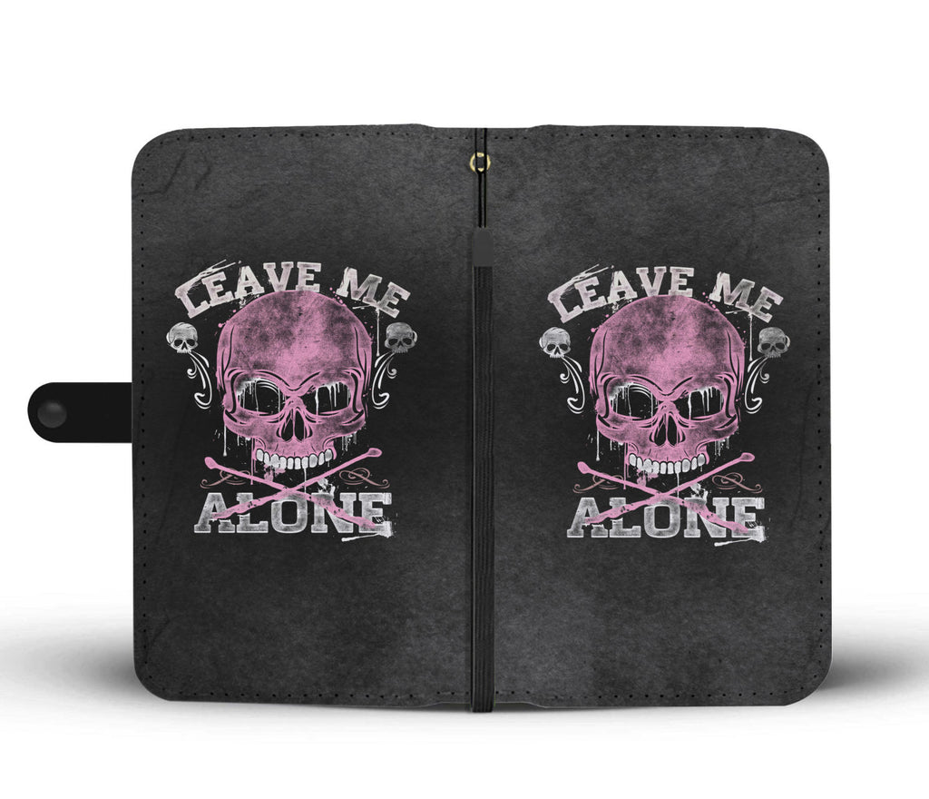 Skullistic Leave Me Alone Phone Wallet Case - Pink Edition