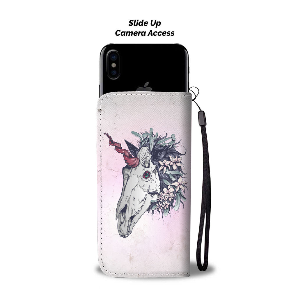 Unicorn Skull Pink Phone Wallet Case