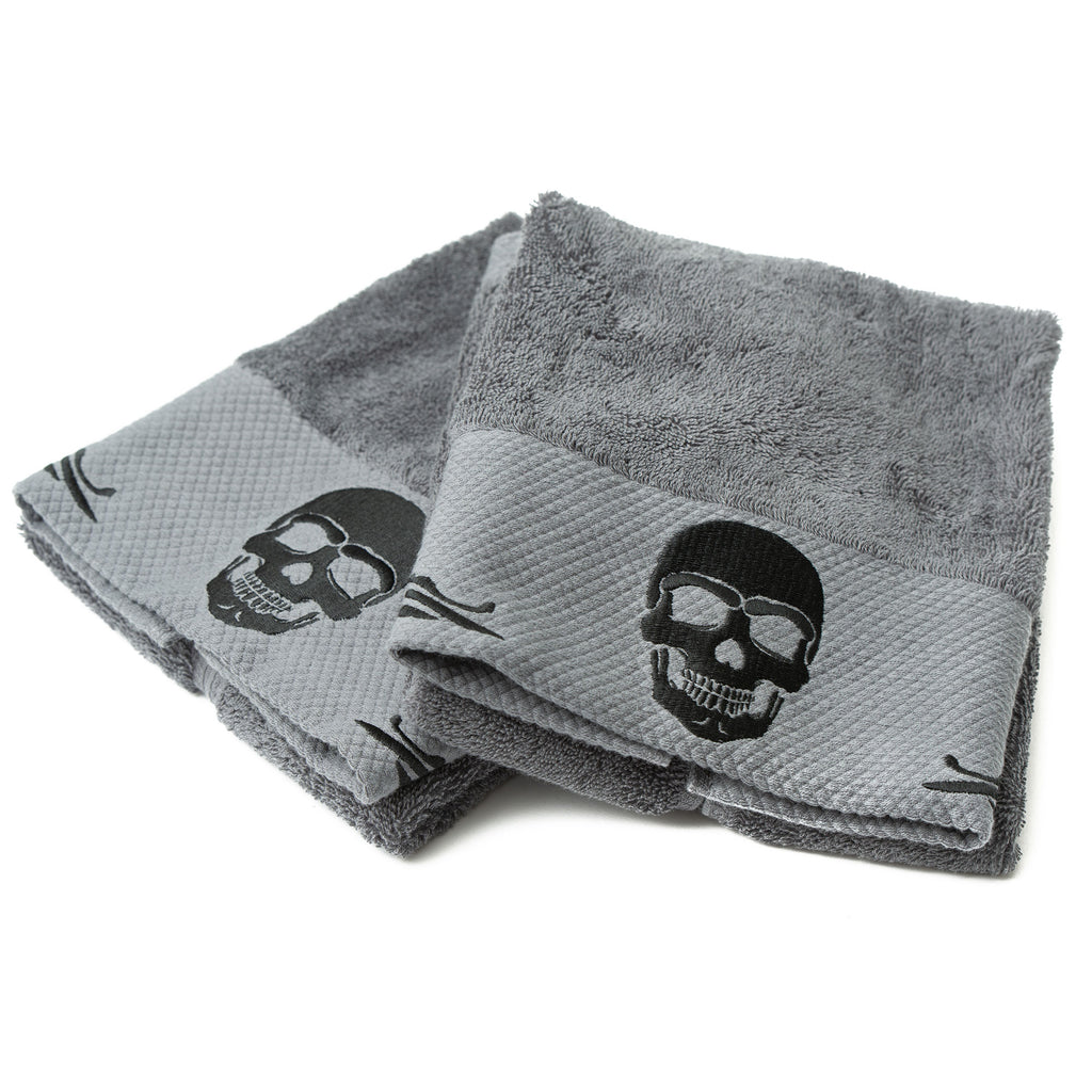 Gothic Skull Embossed black Hand Towel Set side