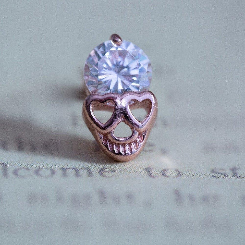 925 Sterling Silver Diamond Skull Stud Earrings Rose Gold