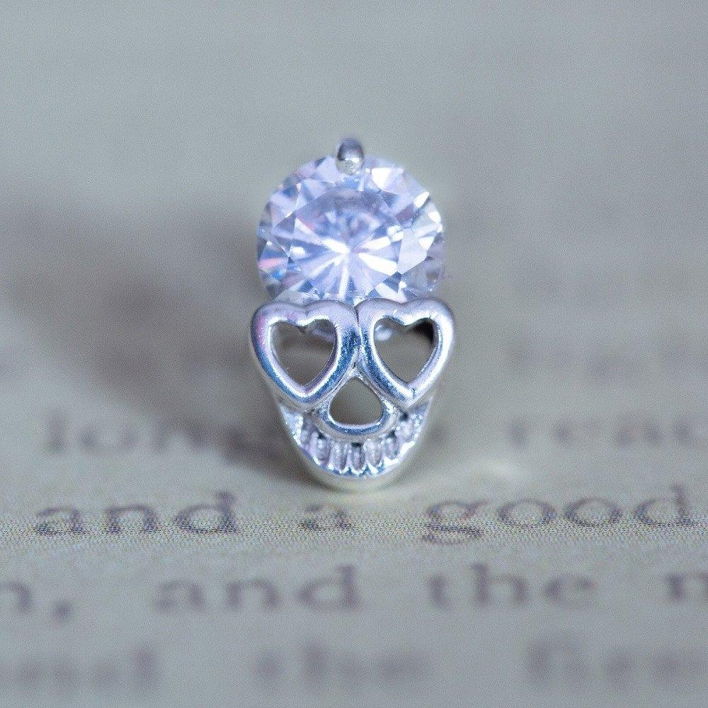 925 Sterling Silver Diamond Skull Stud Earrings Silver