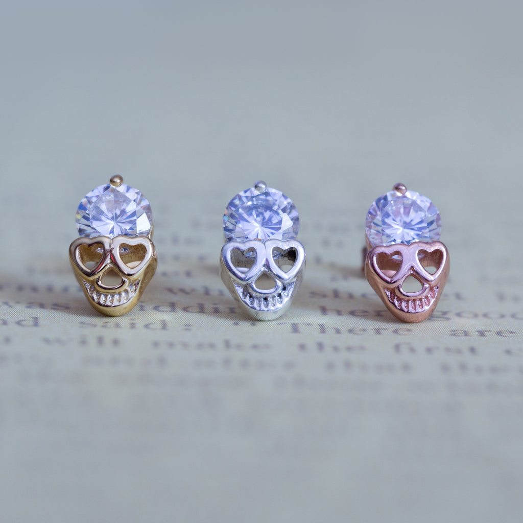 925 Sterling Silver Diamond Skull Stud Earrings