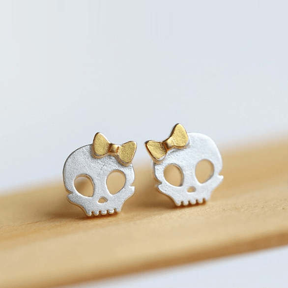 925 Sterling Silver Skull Bow Earrings