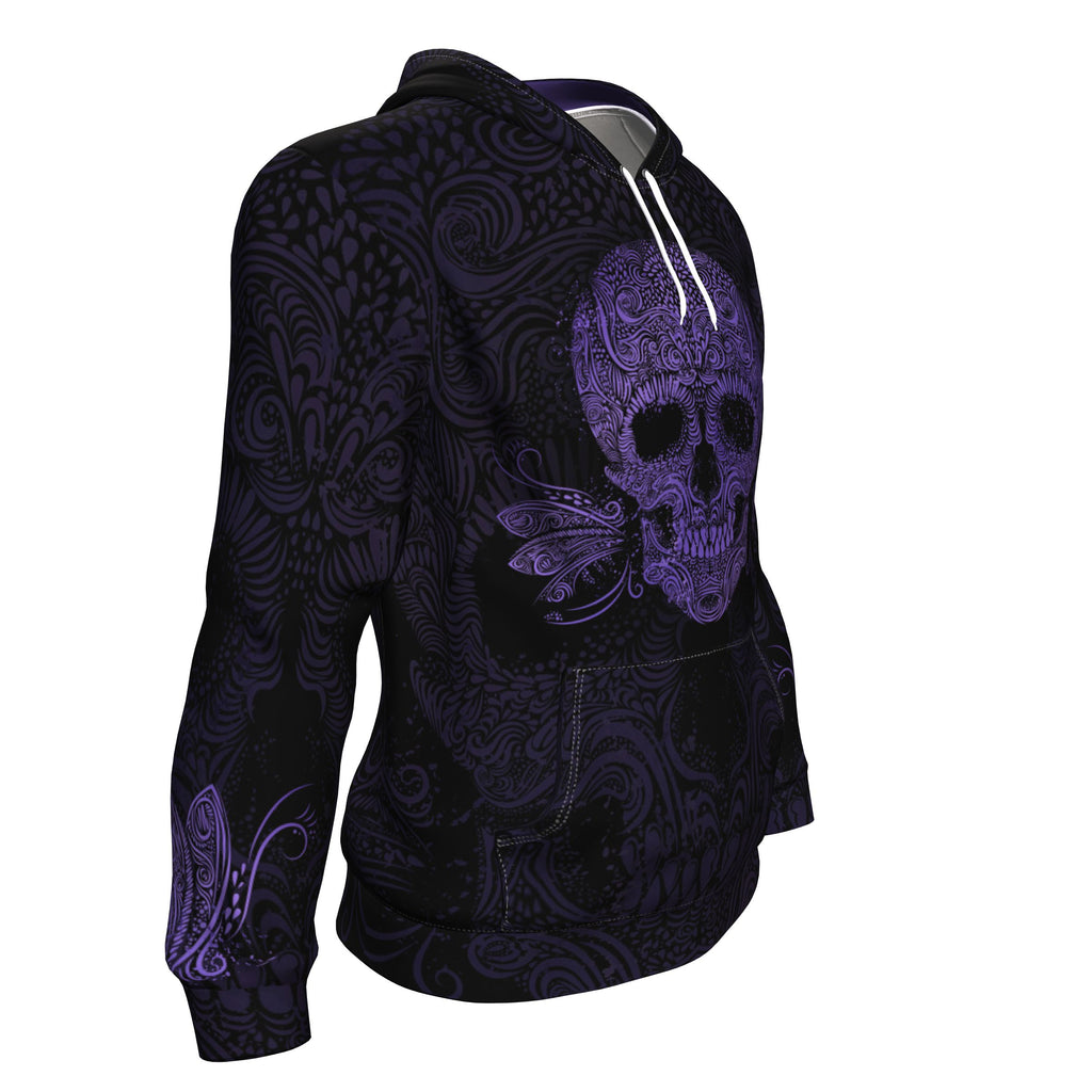 Sugar Skull Puple All Over Print Unisex Hoodie