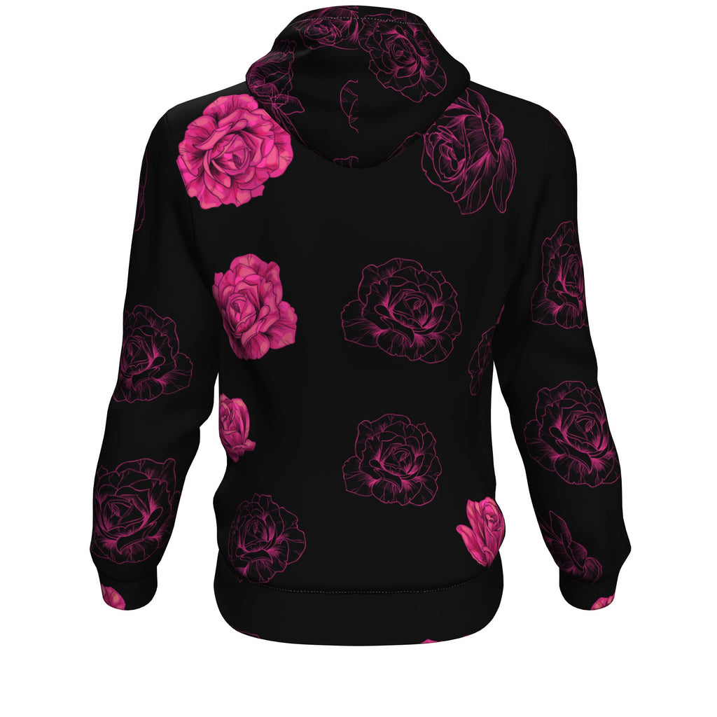 Pink Flower Skull All Over Print Unisex Hoodie