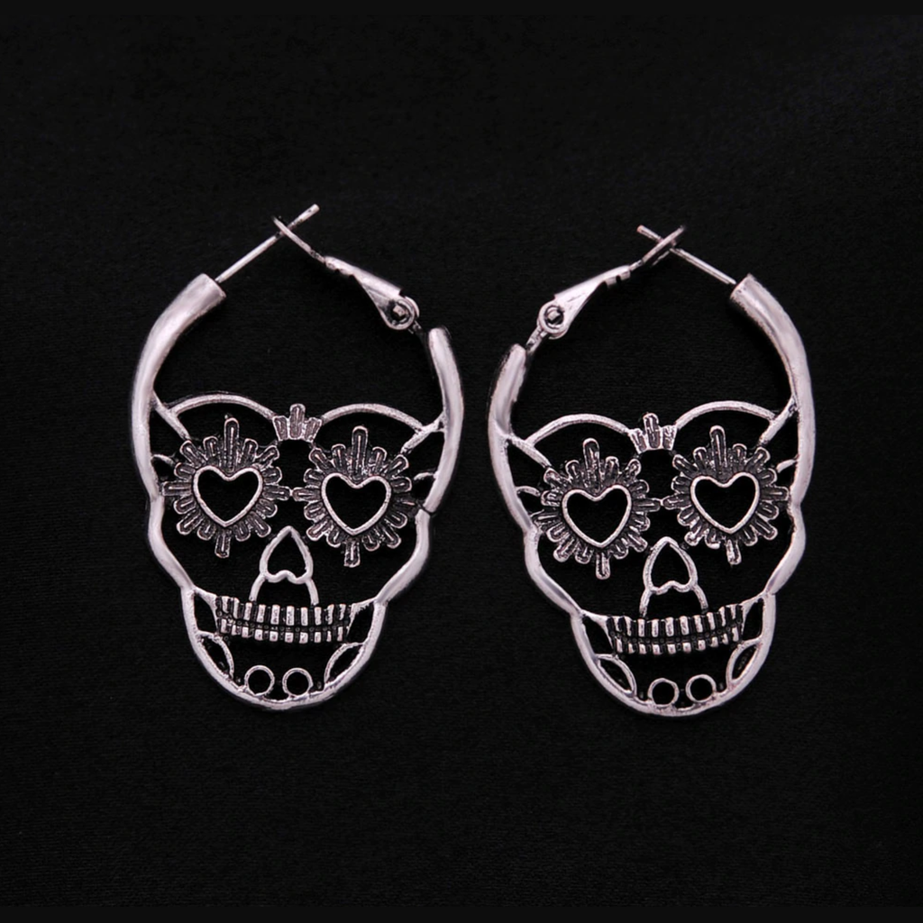 Antique Silver Sugar Skull Earrings