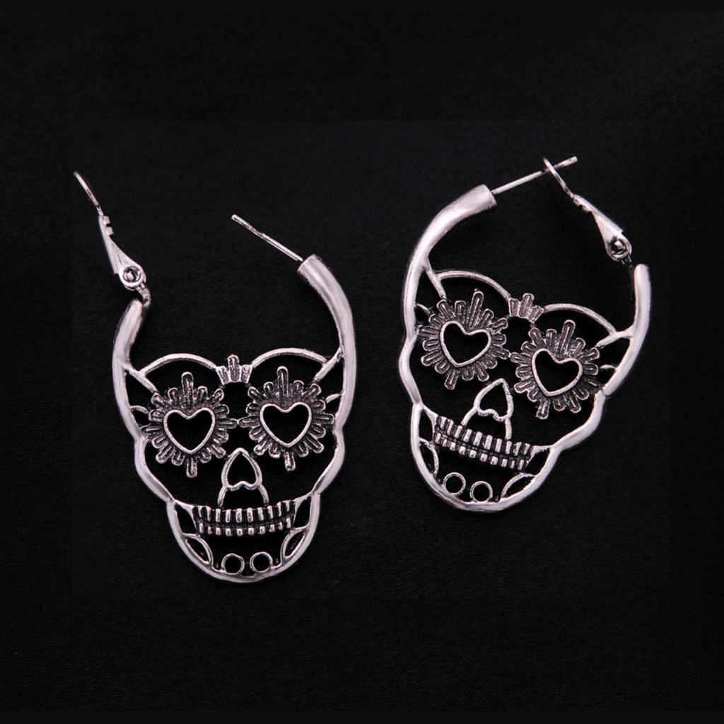 Antique Silver Sugar Skull Earrings opened