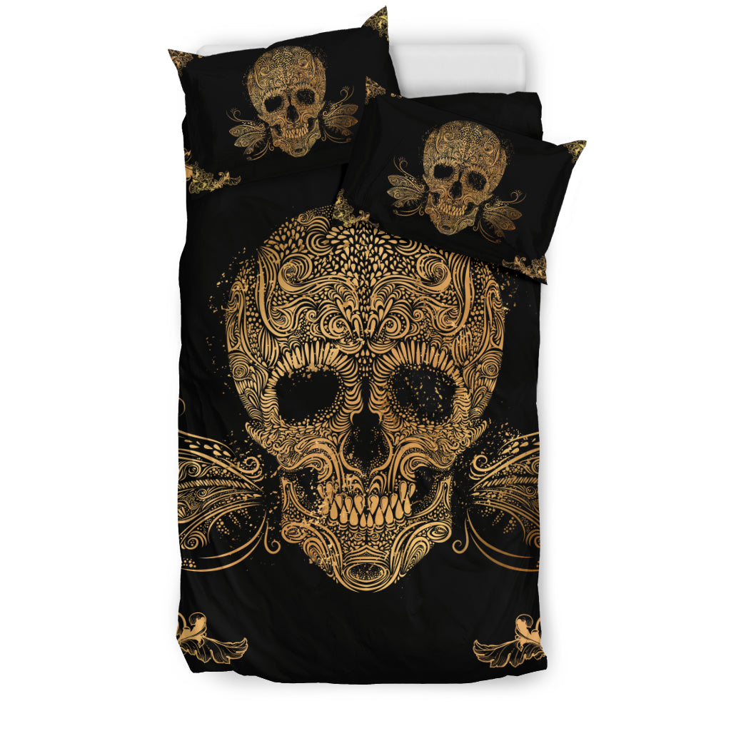 Skullistic™ Golden Sugar Skull Duvet Cover Set