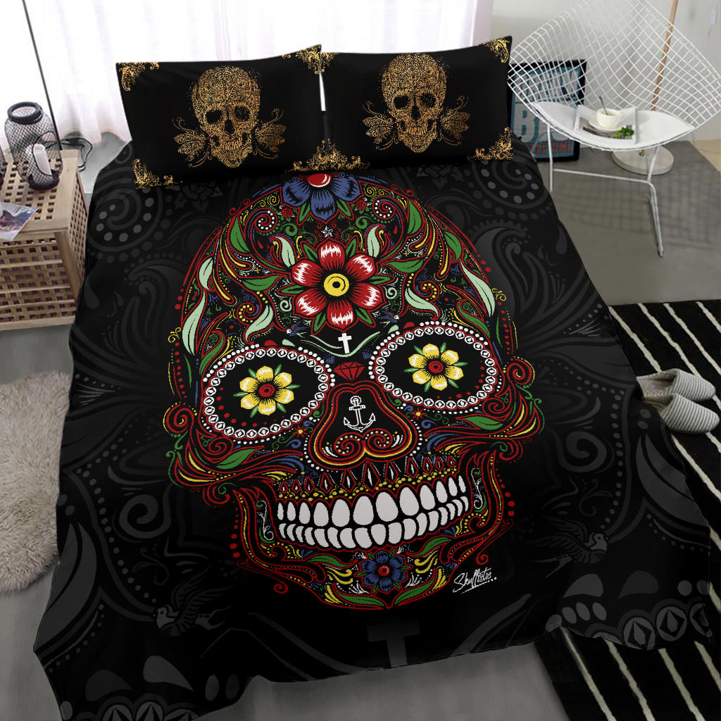 Sugar Skull and Golden Skull Pillows