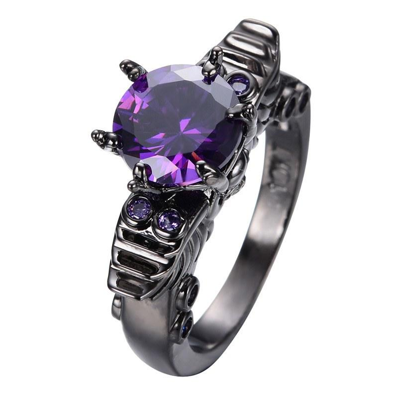 Black Gold Plated Amethyst Skull Ring