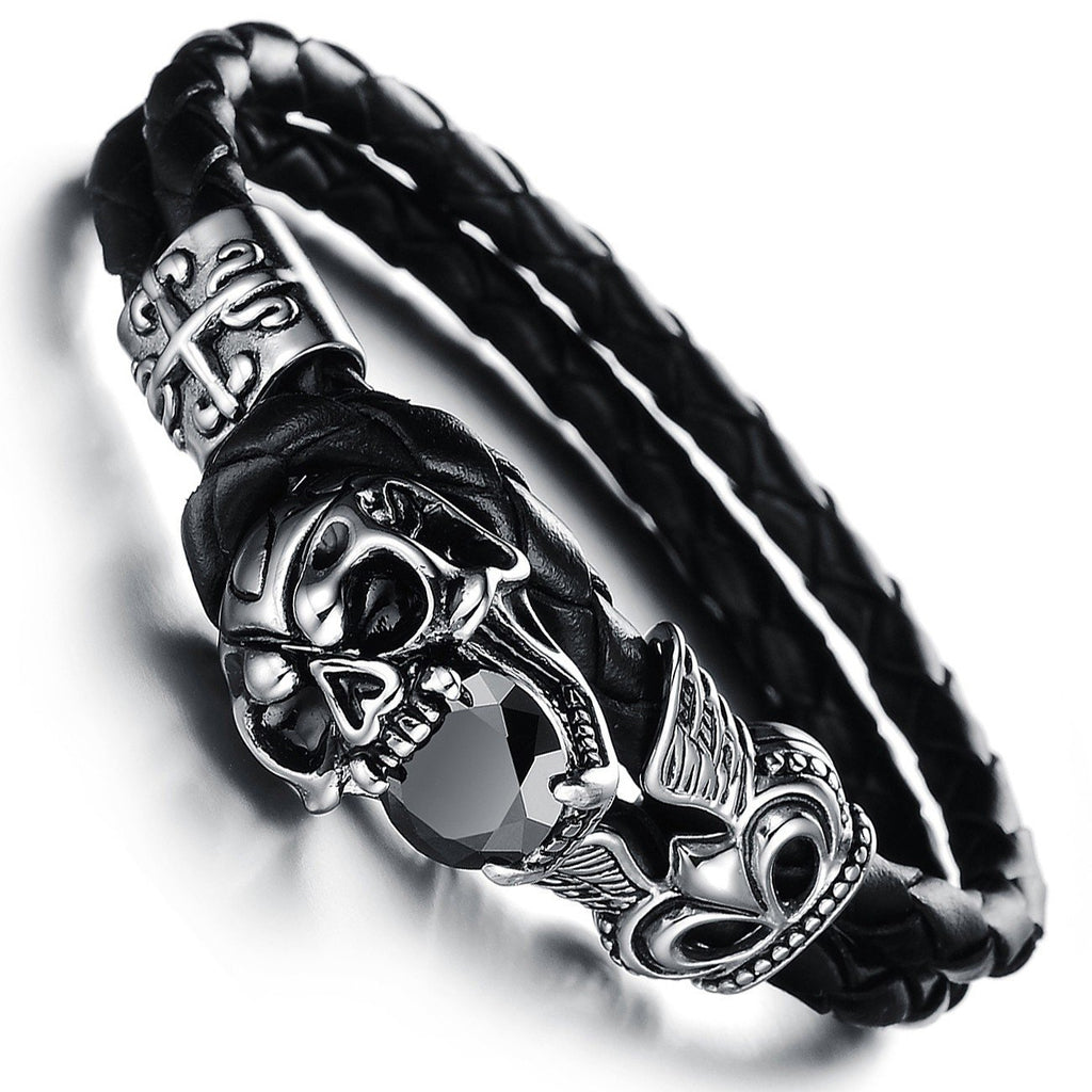 Black Punk Leather Skull Bracelet