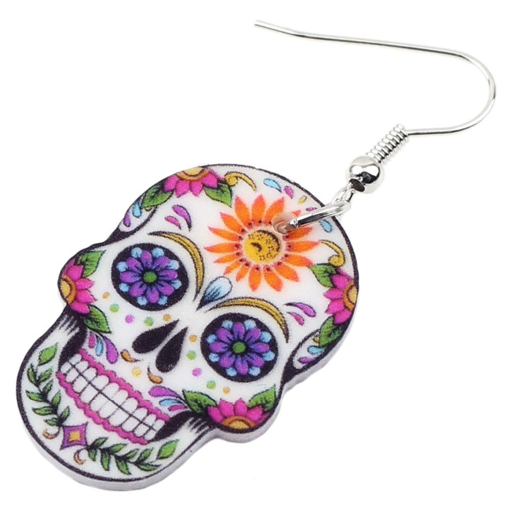 Acrylic Sugar Skull Drop Earrings