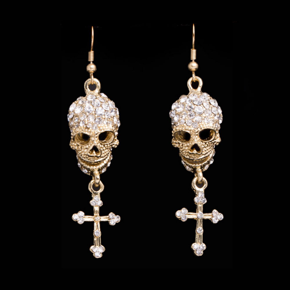 Crystal Skull Drop Earrings