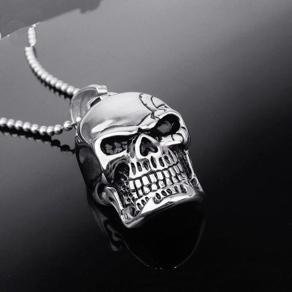 Biker Skull Pendant Necklace