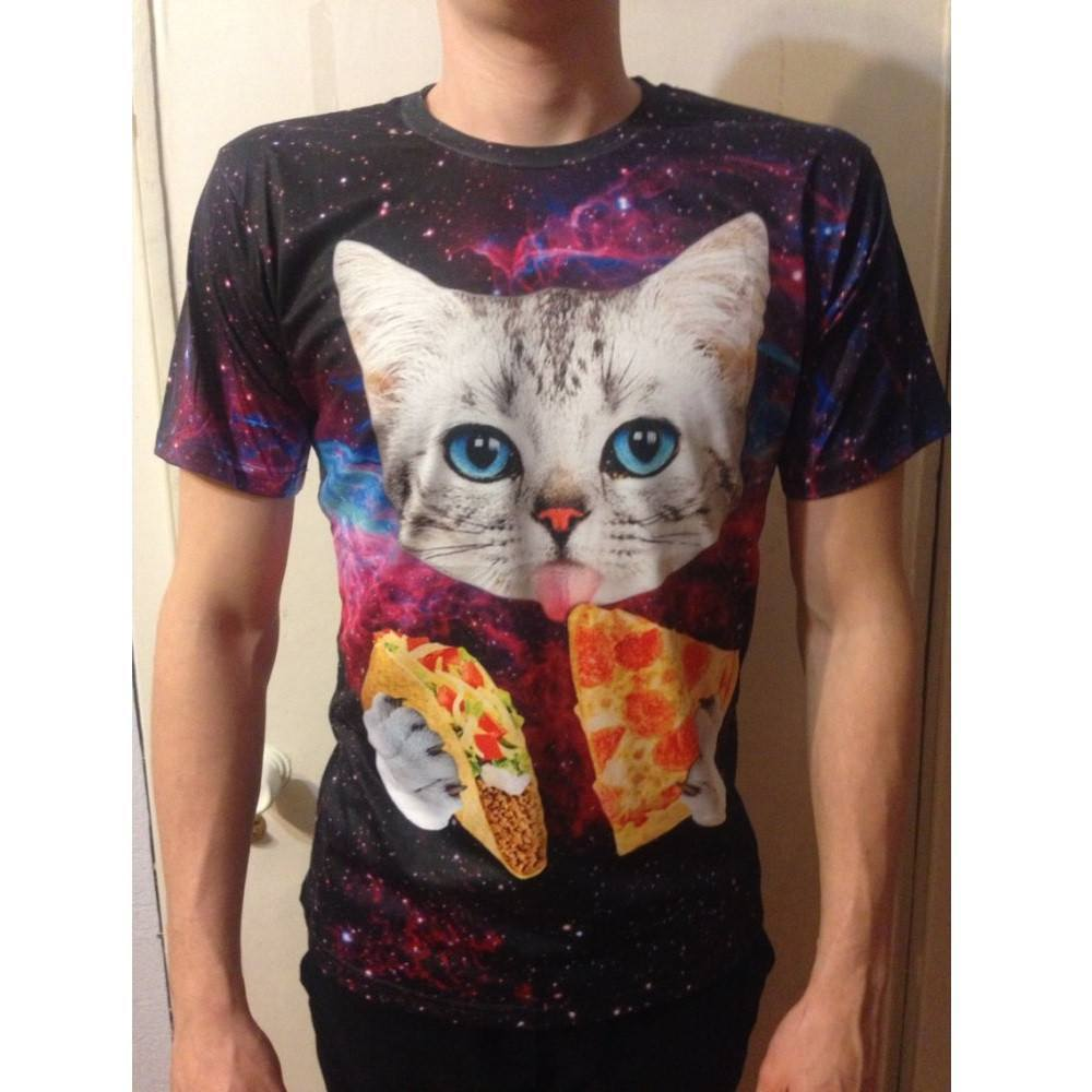 Galaxy Cat Eating Pizza & Taco