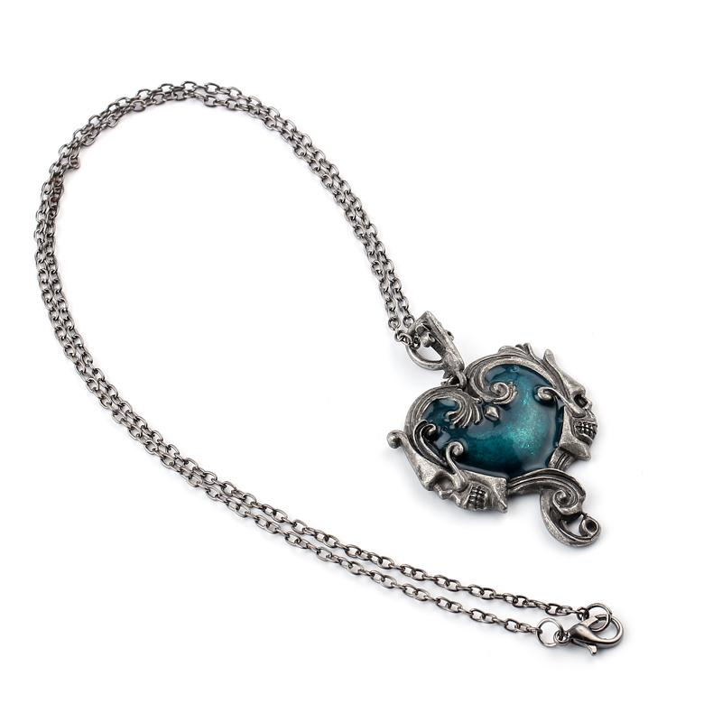 Gothic Skull Statement Necklace With Blue Stone