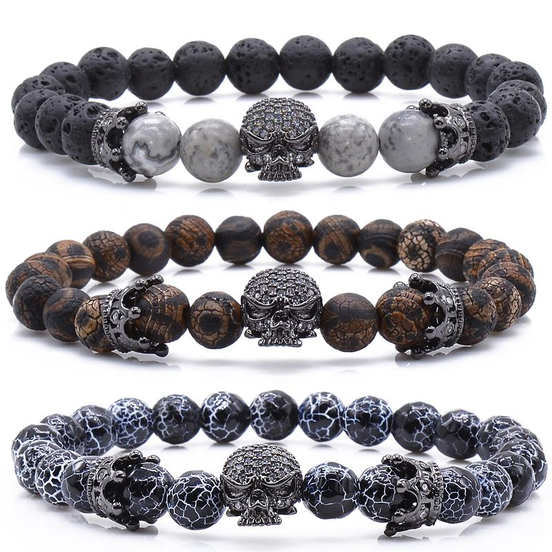 Crowns & Crystal Skull Bead Bracelet