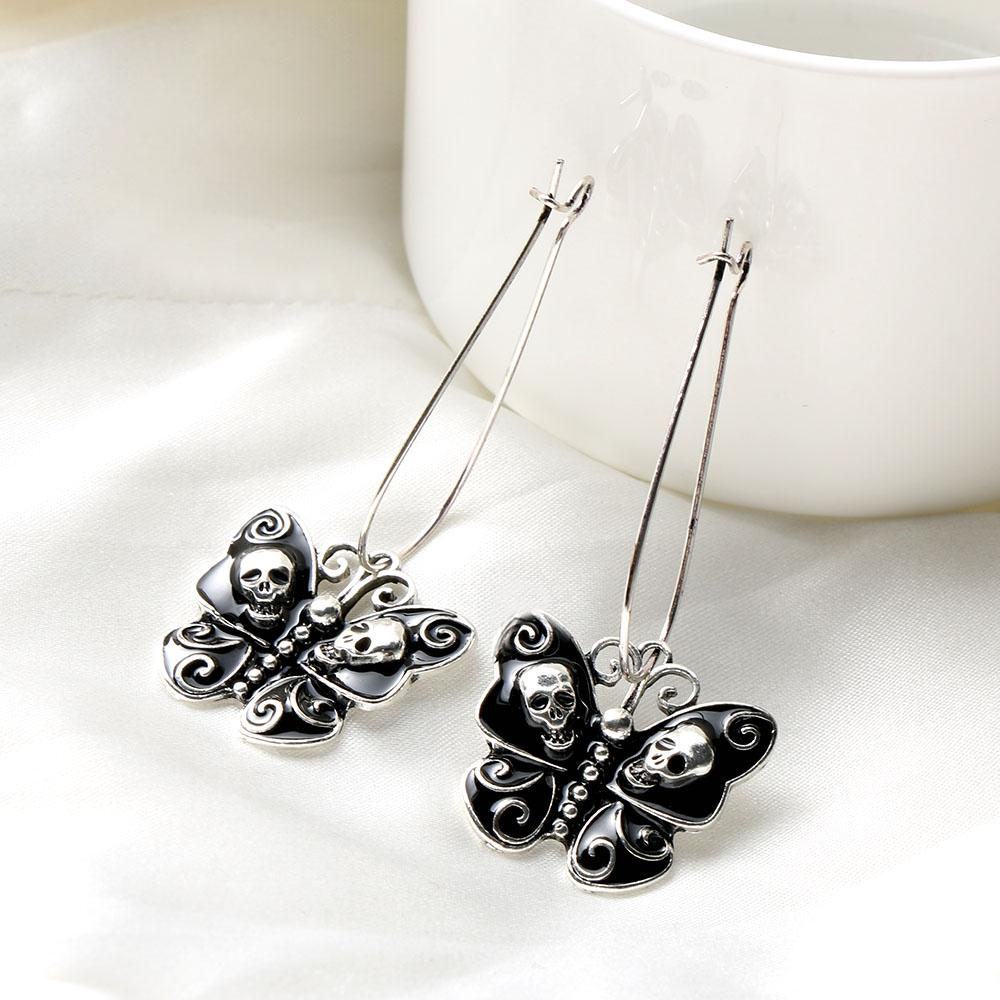 Skull Drop Hook Dangle Earrings Zapps Clothing