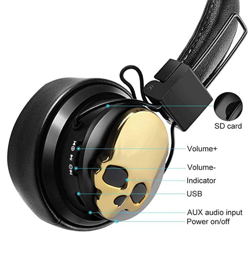 Zapps Clothing Wireless Skull Headphones NX