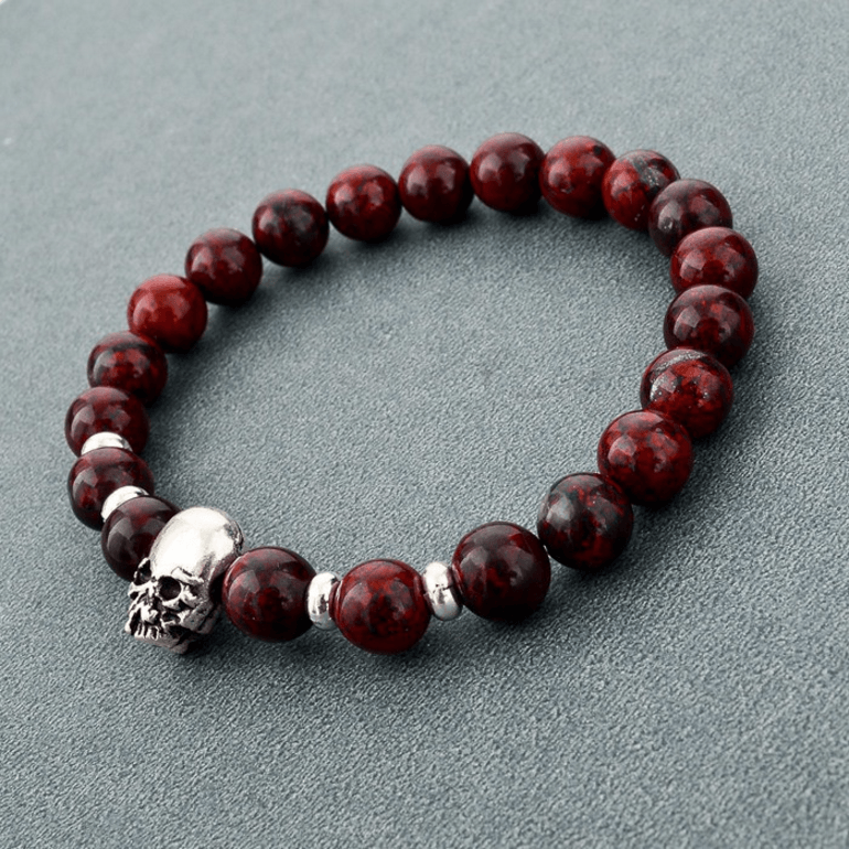 Natural Stone Skull Bracelet dark red