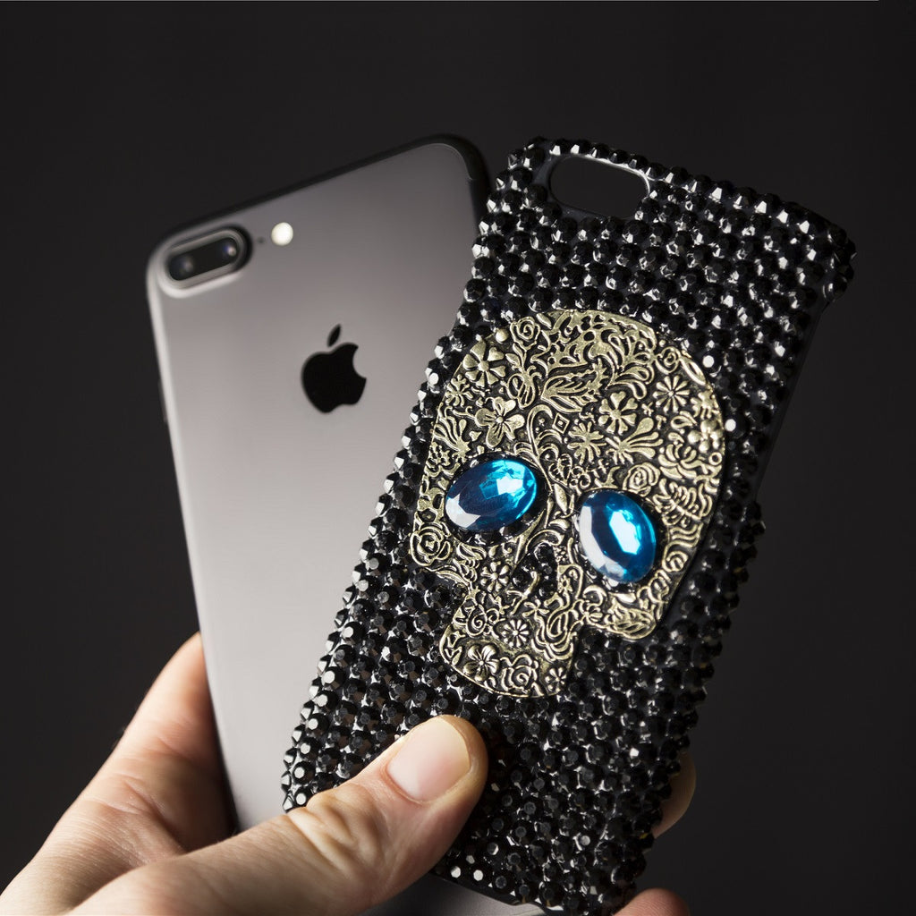 Sparkling Rhinestone Skull Face iPhone & Galaxy Cover