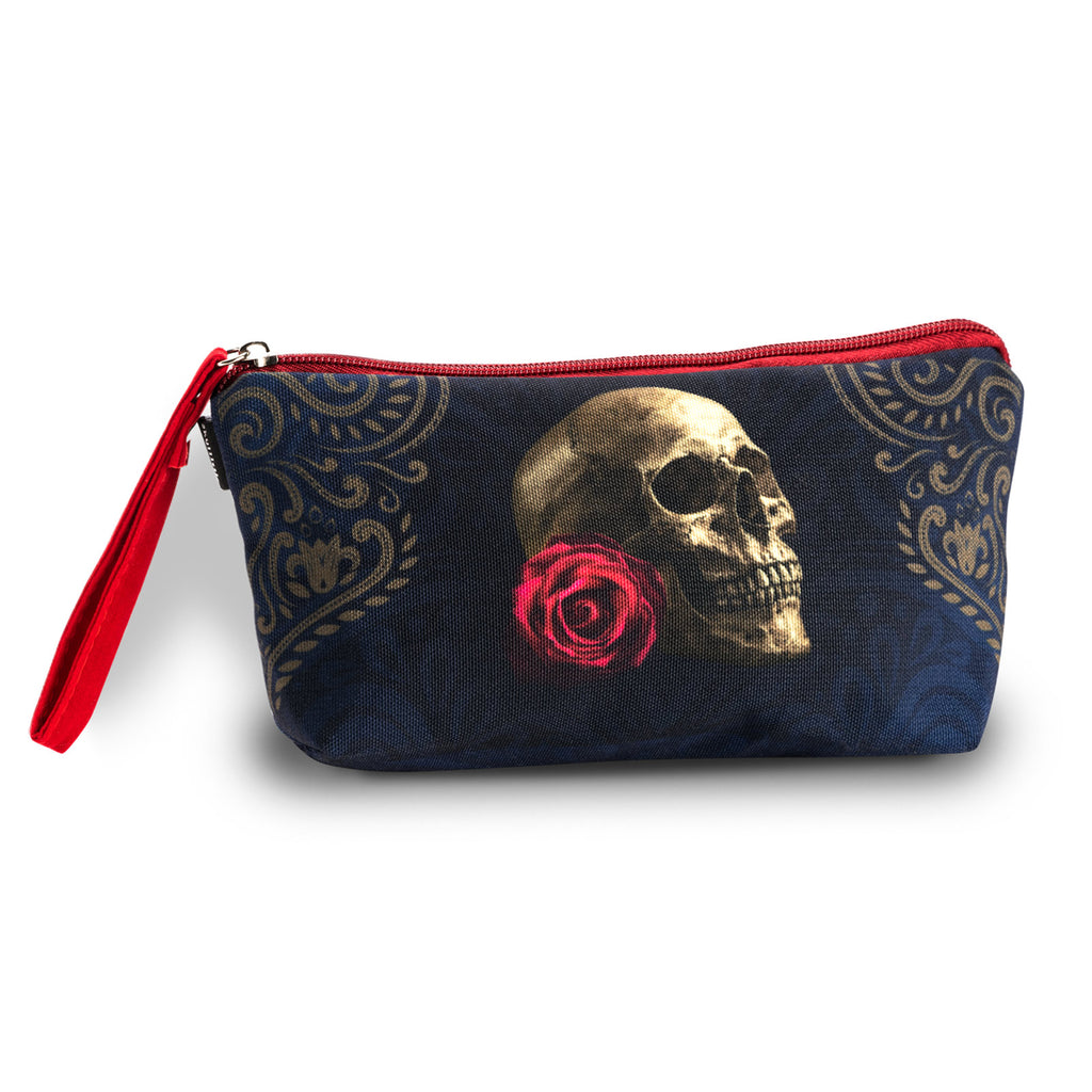 Rose Skull Navy Makeup Bag