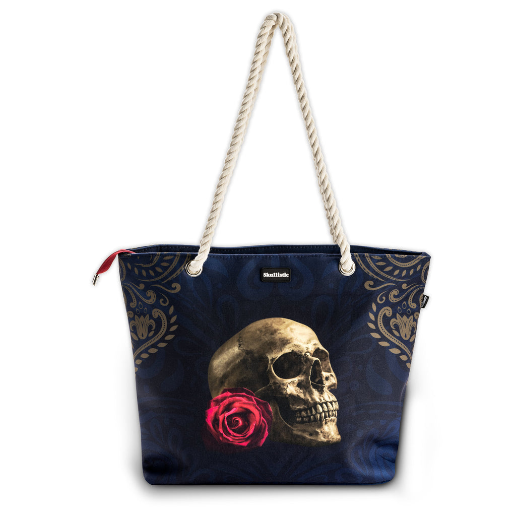 Rose Skull Navy Shoulder Beach Bag
