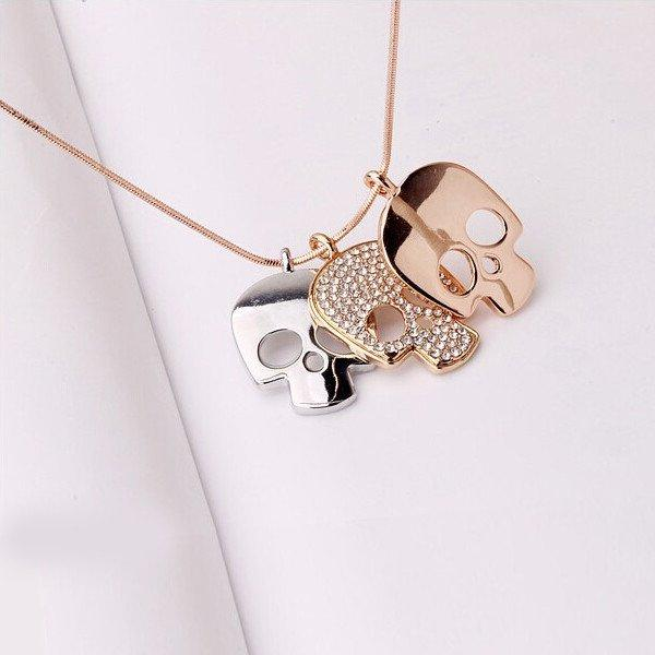 Rose Gold Plated Skulls Necklace