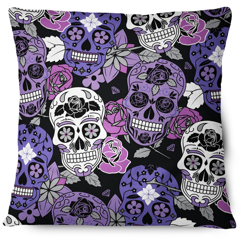Sugar Skulls Pattern Pillow Cover Purple