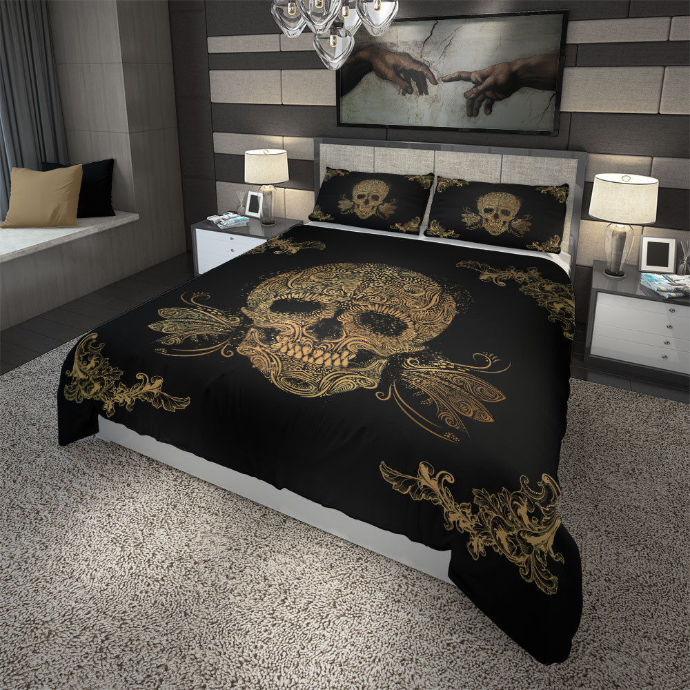 Skullistic Golden Sugar Skull Duvet Cover Set