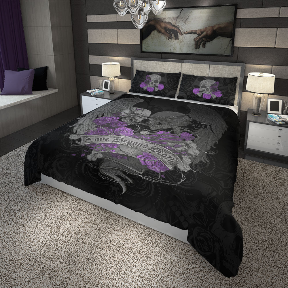 Love Beyond Death Skull Wings Duvet Cover Set