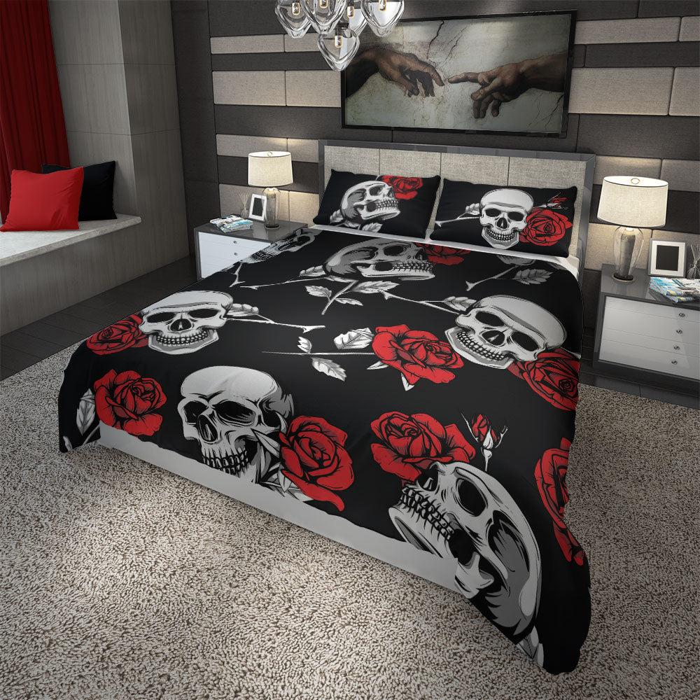 Skullistic Death Rose Black Duvet Cover Set