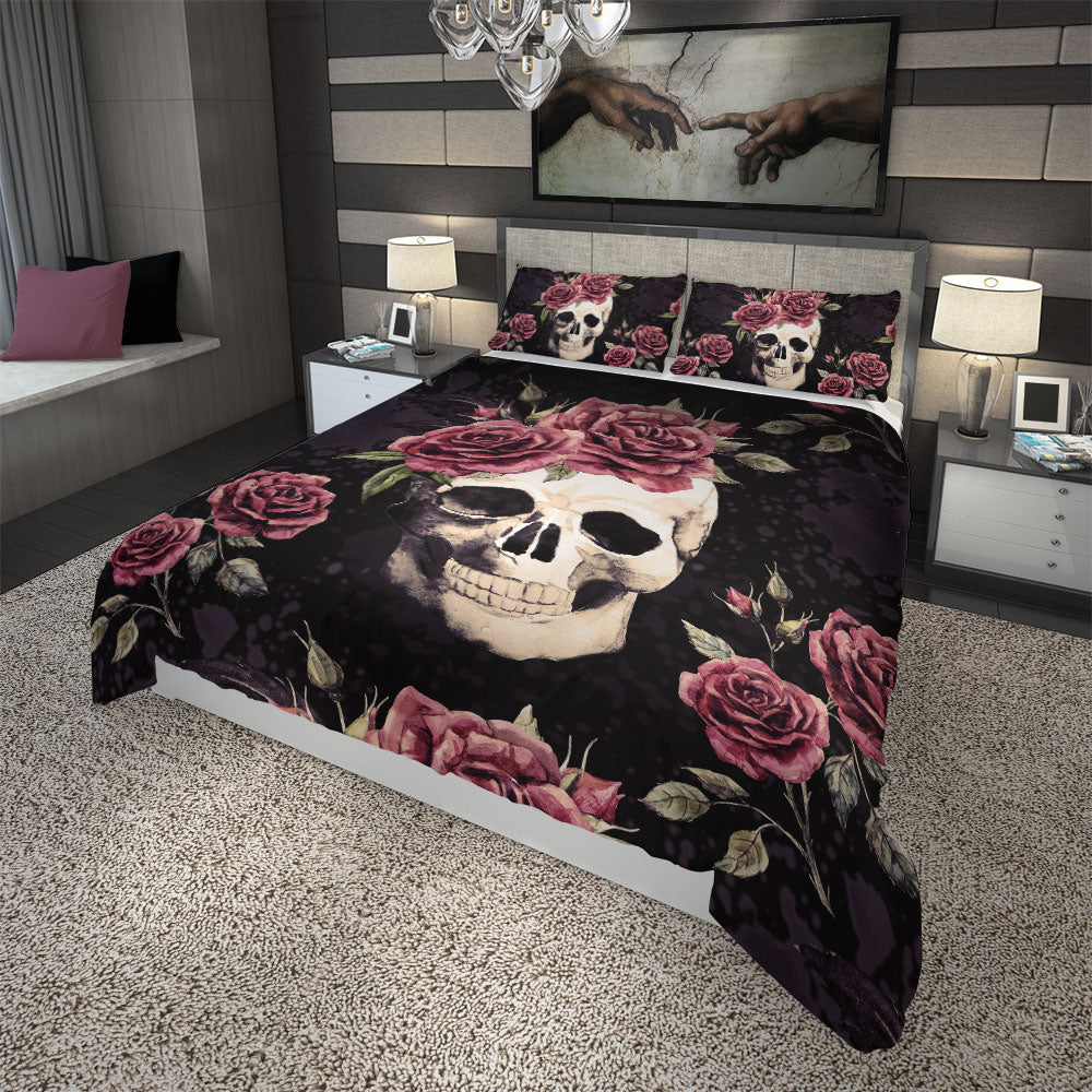 Vintage Skull With Flowers Duvet Cover Set side